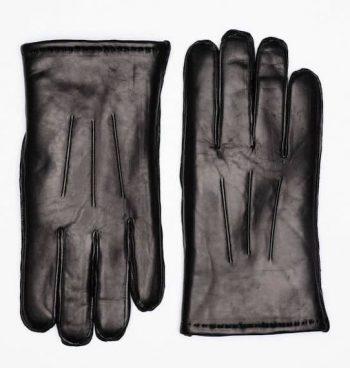 Maskinsydde herrehansker med pels u splitt Sort Forside