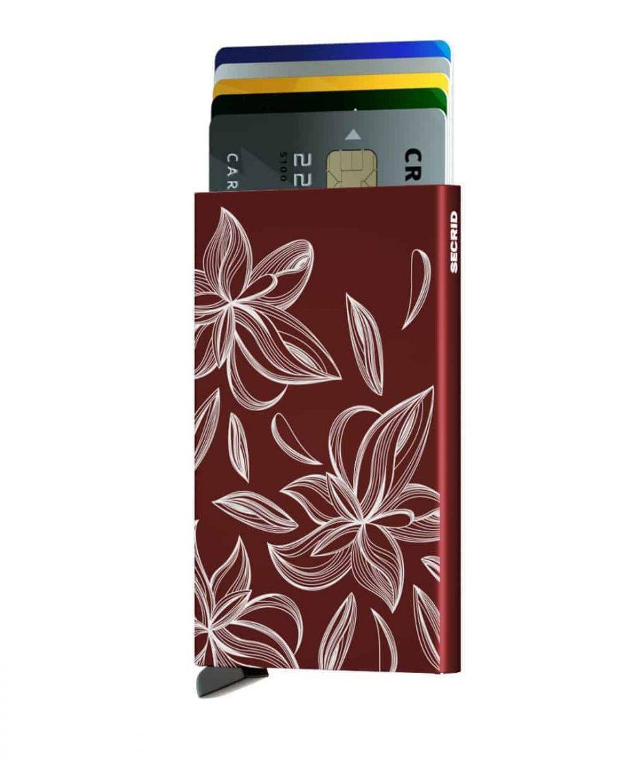 Secrid Cardprotector Magnolia bordeaux forside med kort