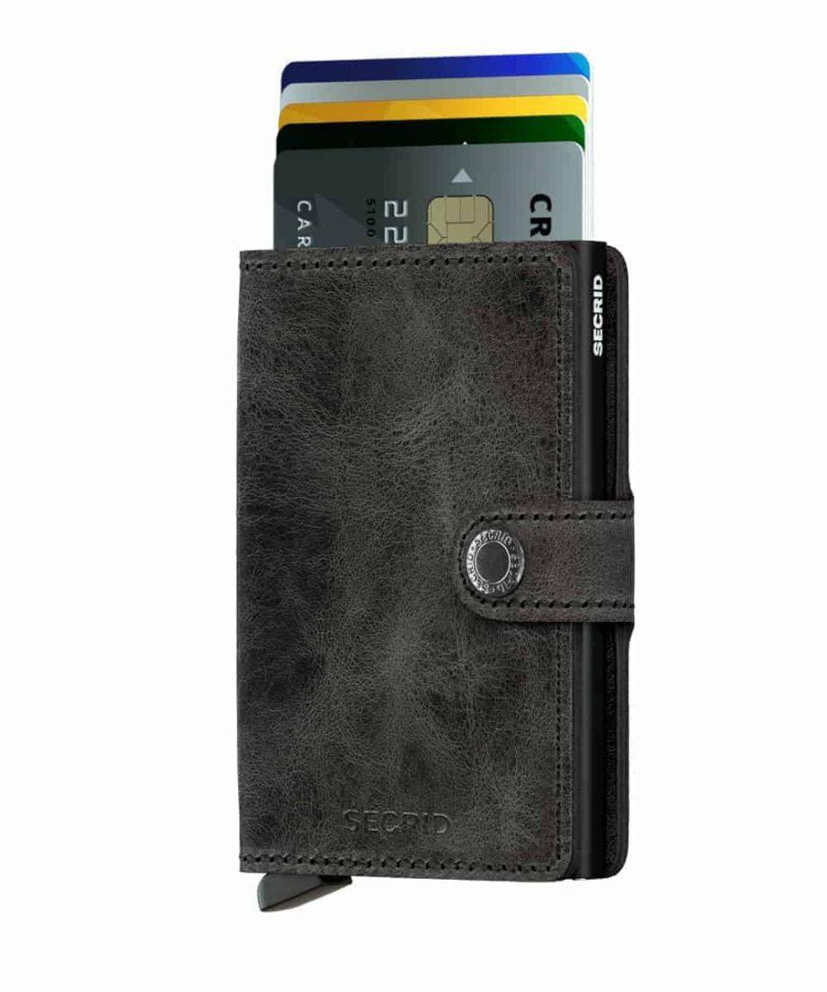 Secrid Miniwallet - vintage black - forside med kort