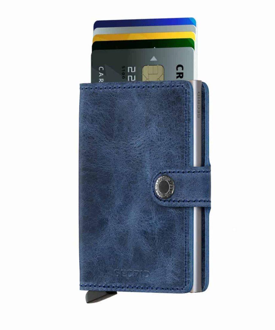 Secrid Miniwallet - vintage blue - forside med kort