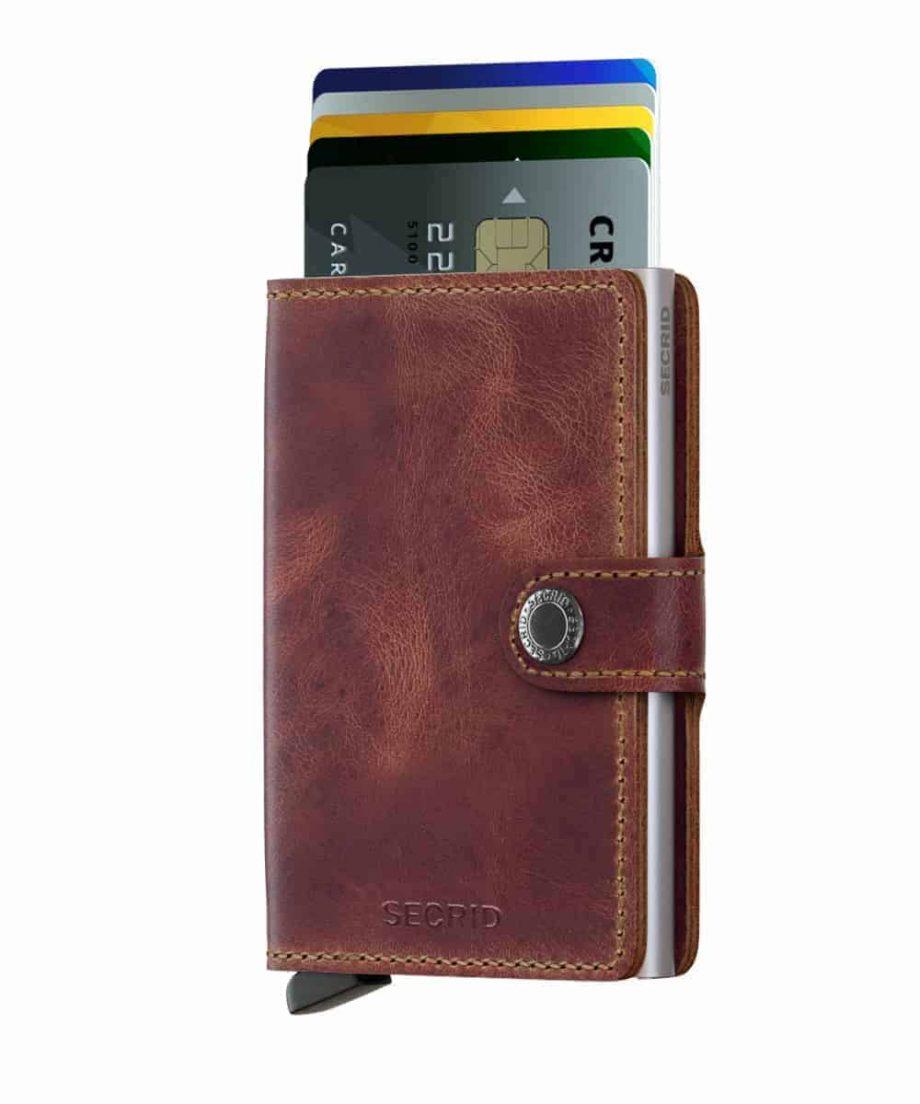 Secrid Miniwallet - vintage brown - forside med kort