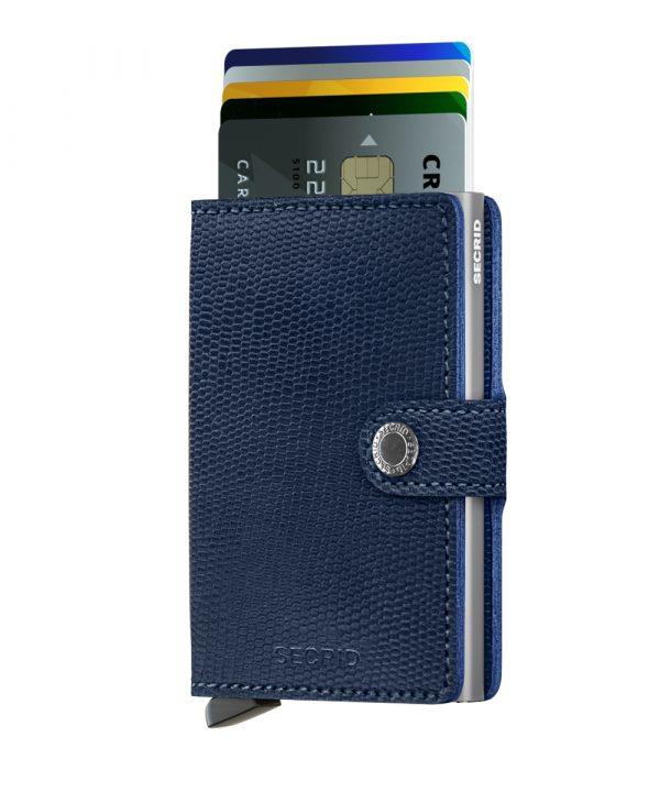 Secrid Miniwallet - blue titanium forside med kort