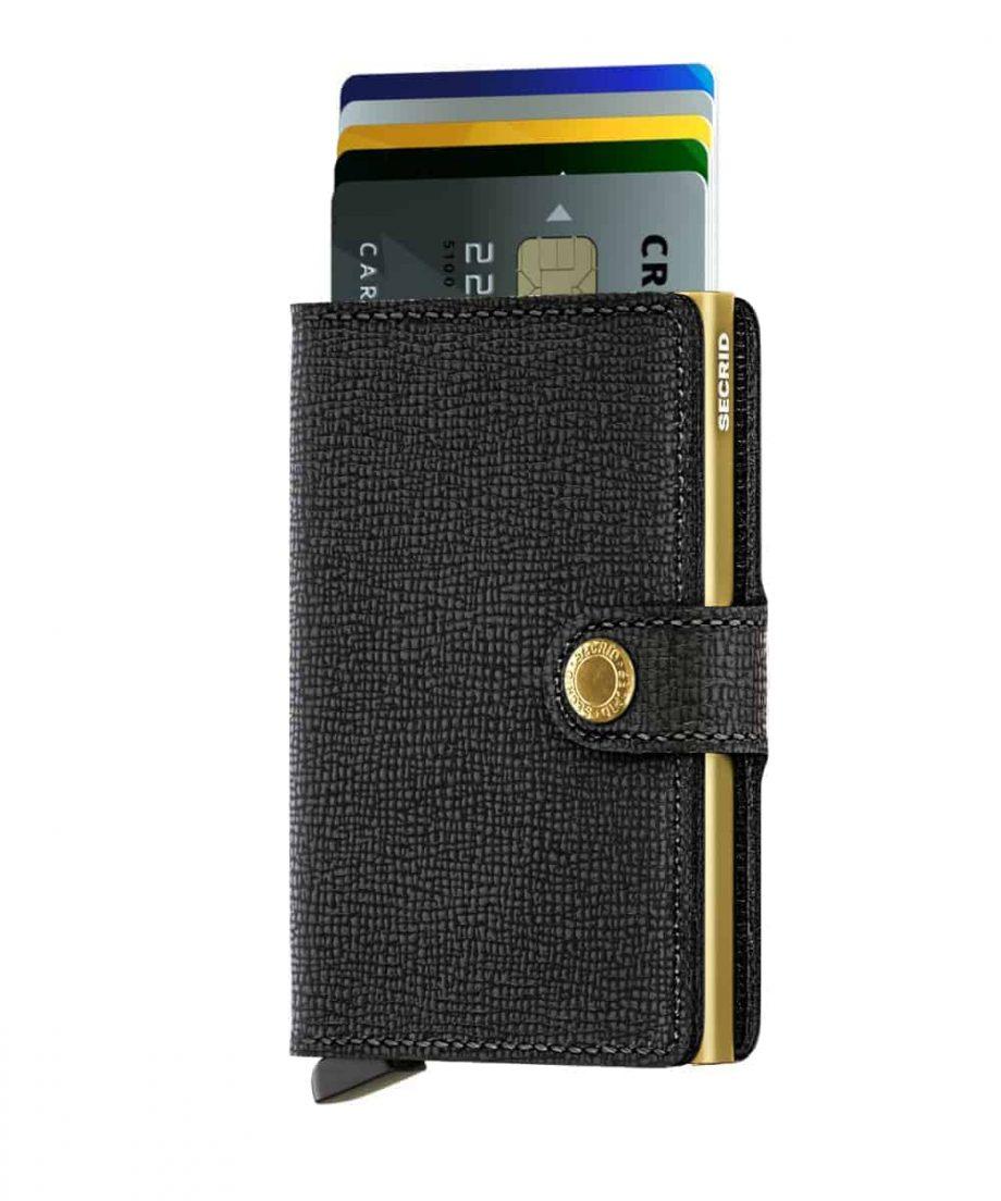 Secrid Miniwallet - crisple black gold forside med kort