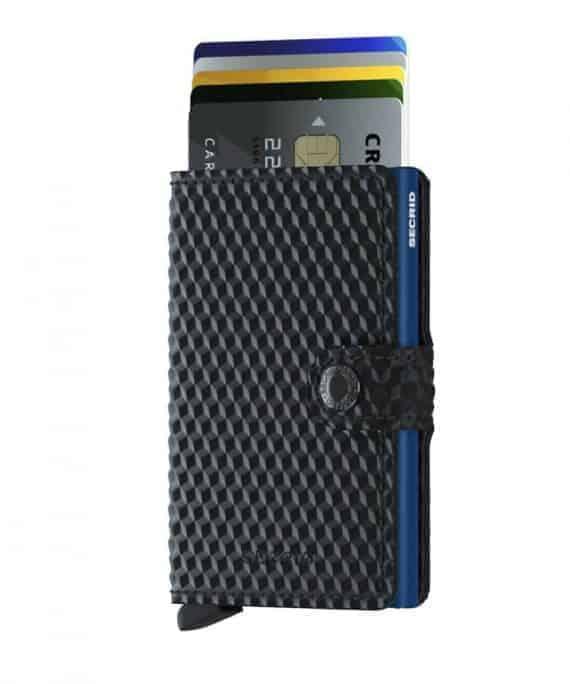 Secrid Miniwallet - cubic black blue forside med kort