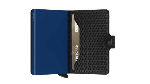 Secrid Miniwallet - cubic black blue open