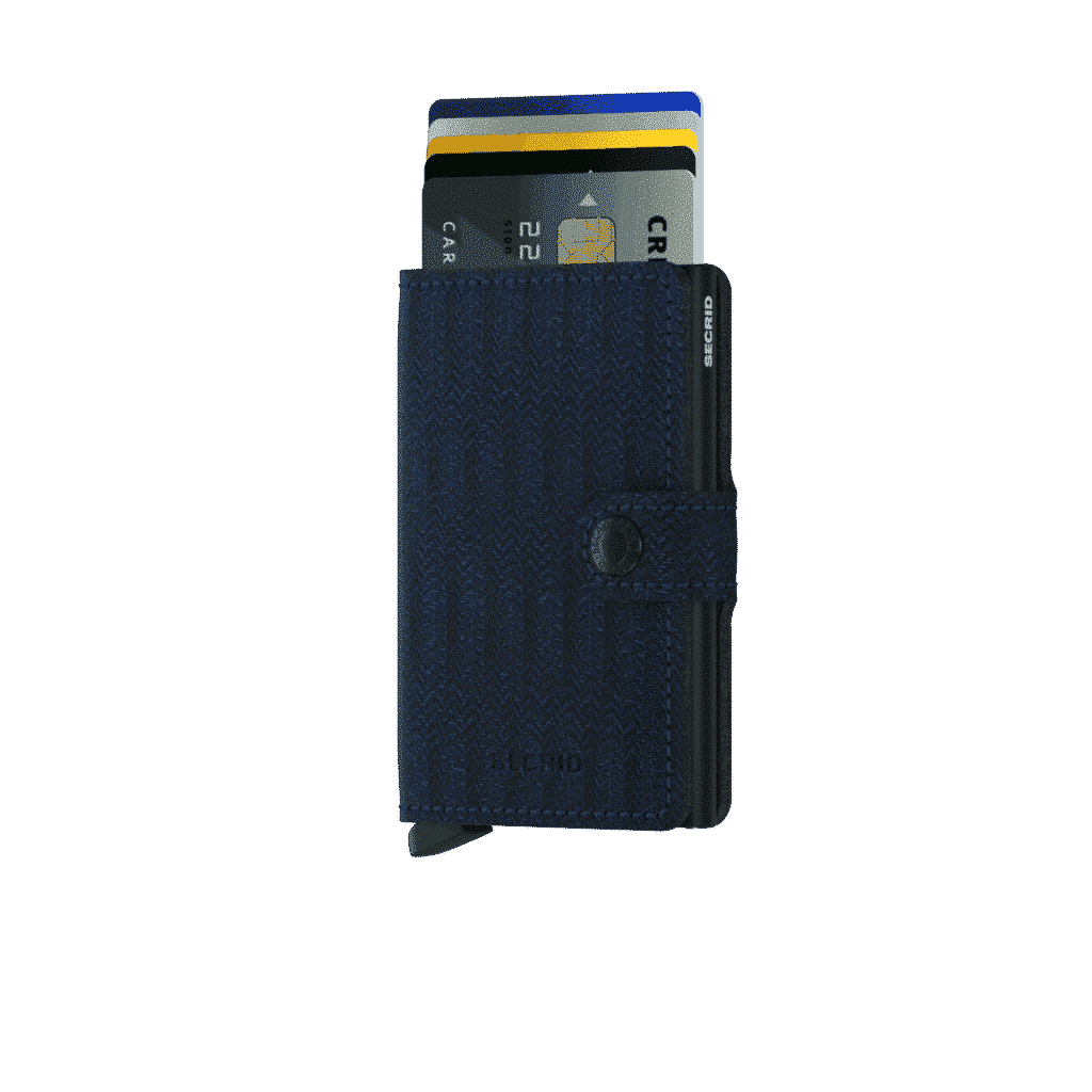 Secrid Miniwallet - dash navy forside med kort