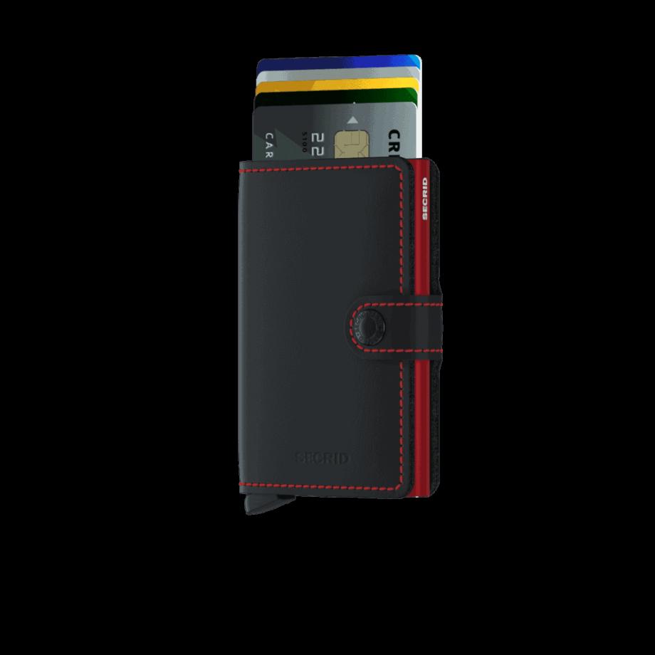 Secrid Miniwallet - matte black red forside med kort