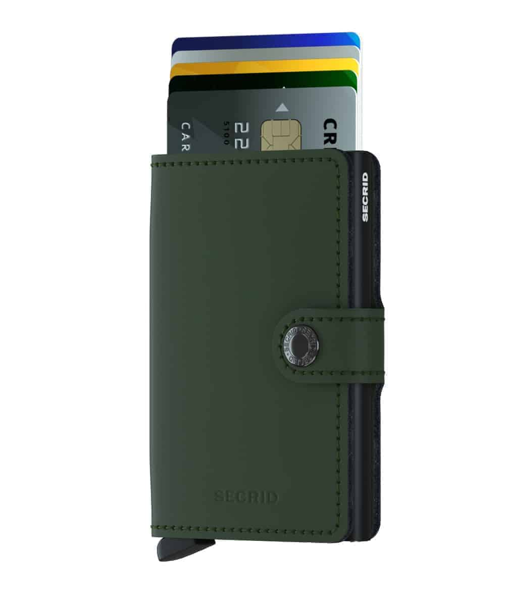 Secrid Miniwallet - matte green black forside med kort