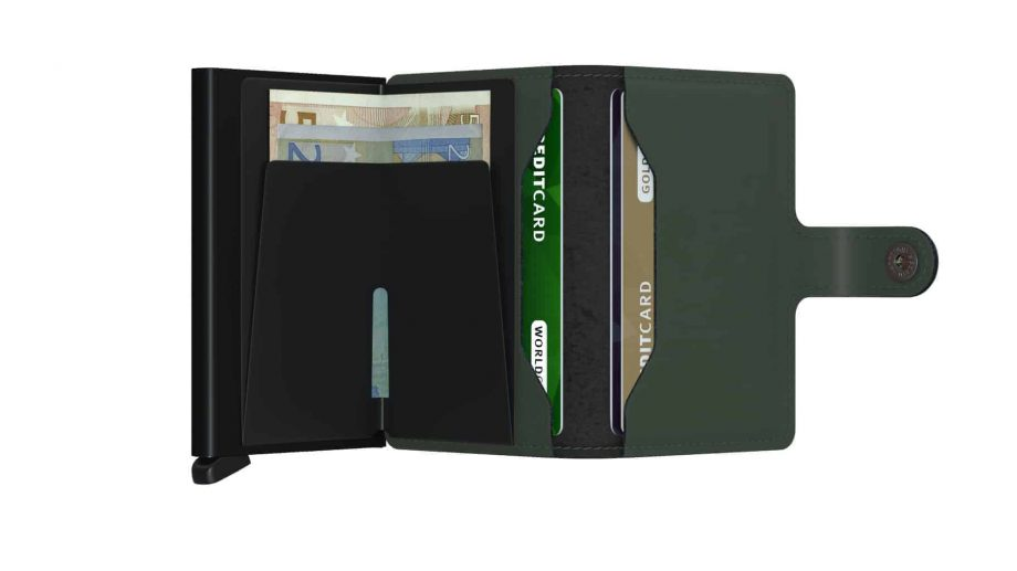 Secrid Miniwallet - matte green black open