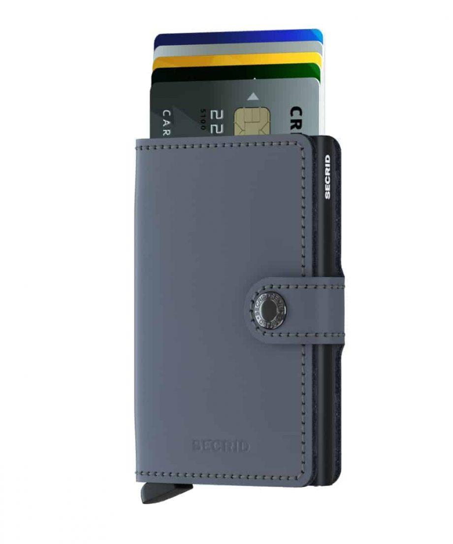 Secrid Miniwallet - matte grey black forside med kort