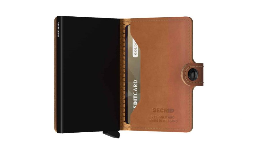 Secrid Miniwallet - perforated cognac open