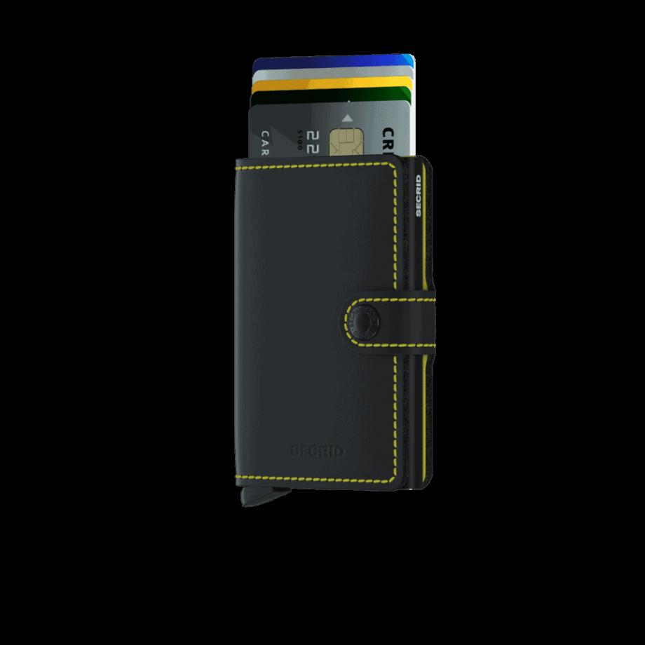 Secrid Miniwallet - sort gul matt forside med kort