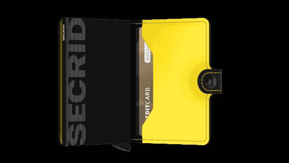 Secrid Miniwallet - sort gul matt open