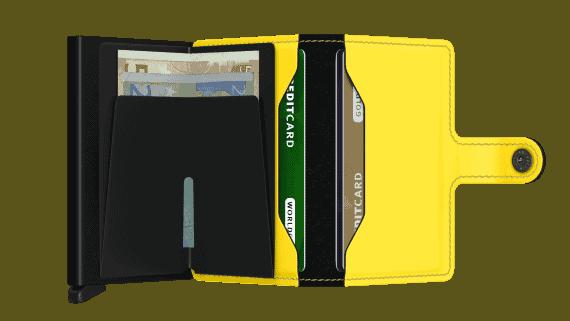 Secrid Miniwallet - sort gul matt open2