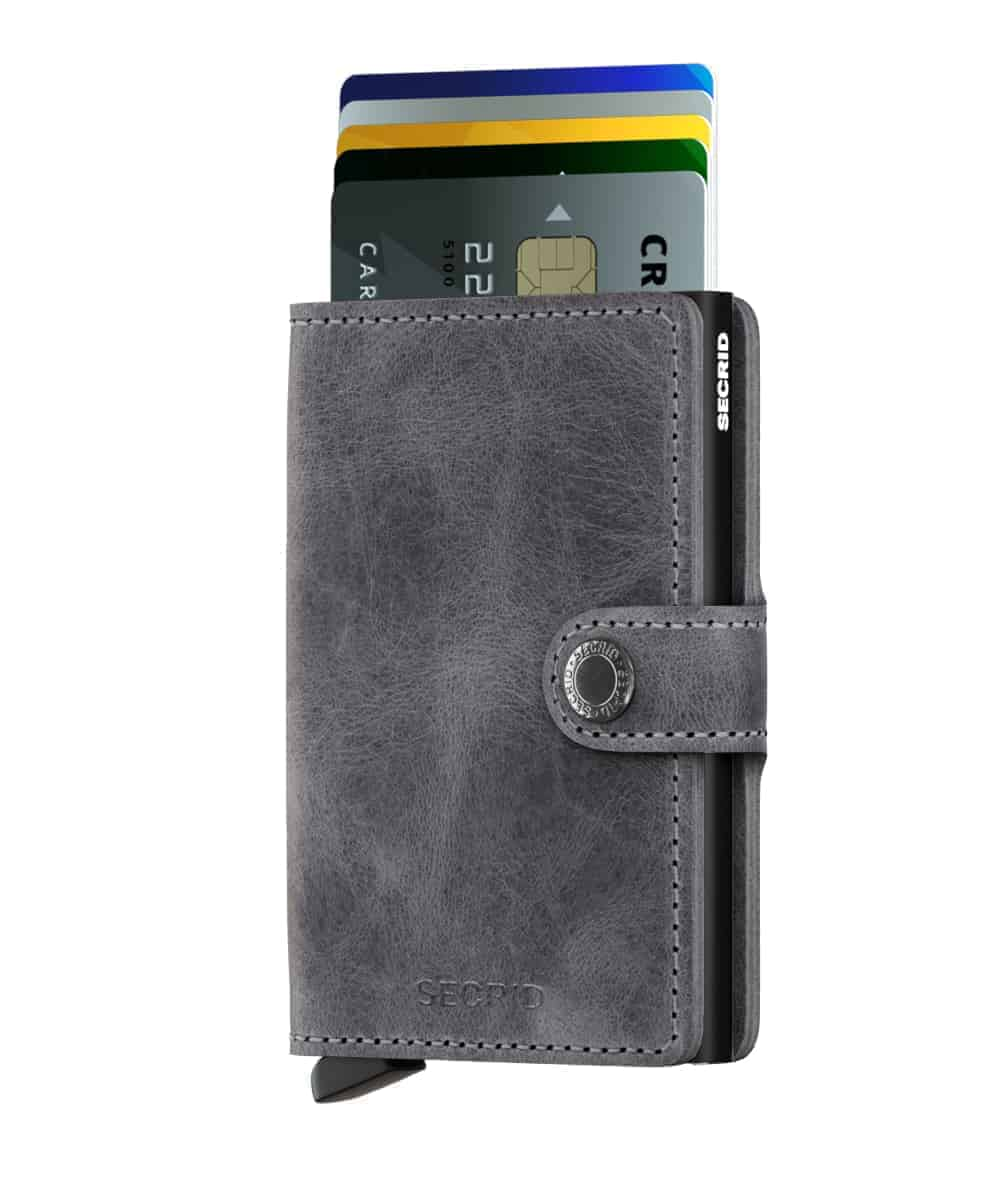 Secrid Miniwallet - vintage grey black forside med kort