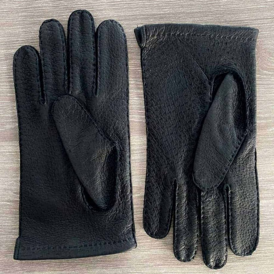 Sorte villsvinshansker til herre uten fôr - undersiden av hanskene - 1-8030