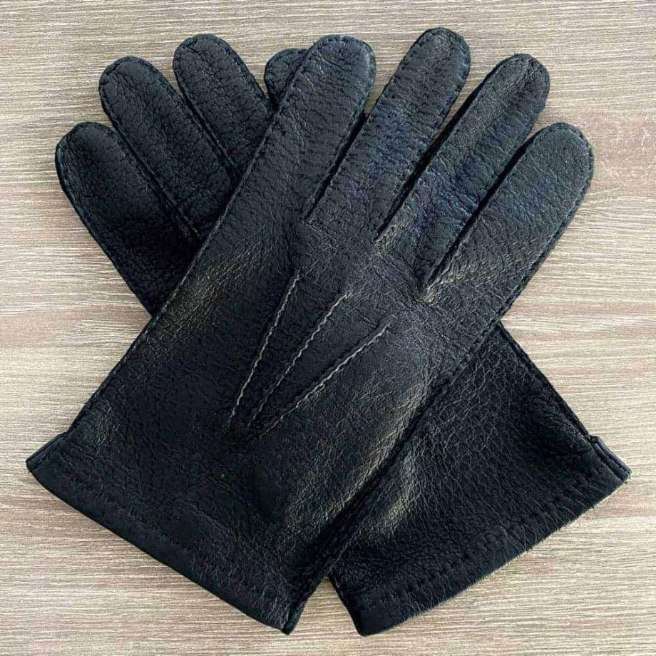 Sorte villsvinshansker til herre uten fôr - hanskene i kryss sett fra oversiden- 1-8030