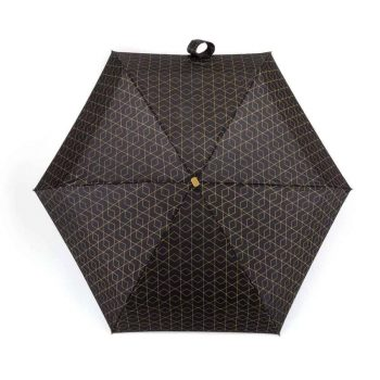 Totes compact flat geo metallic print umbrella open