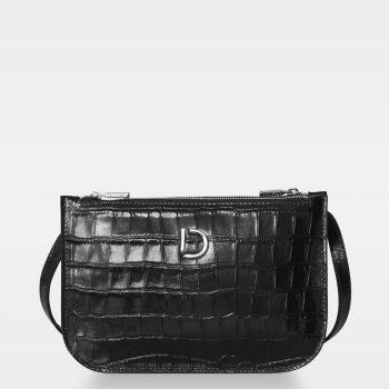 DE704 Marcia small double bag croco black Forside